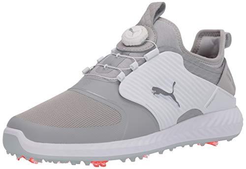 Puma Golf Men's Ignite Pwradapt Caged Disc Golf Shoe, Gray Violet-Puma Silver-Puma White, 8.5 M US
