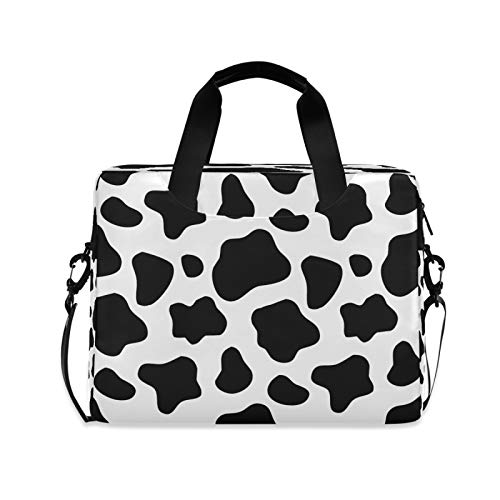 Yulife Cow Leopard Print Laptop Bag Sleeve Case for Women Men Animals Pattern Briefcase Tablet Messenger Shoulder Bag with Strap Notebook Computer Case 14 15.6 16 Inch for Kids Girls Business