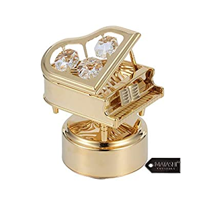 Matashi 24K Gold Plated Wind Up Music Box with Crystal Studded Piano Figurine Decorative Tabletop Showpiece for Living Room Gift for Christmas Birthday Holiday Valentine's Day - Swan Lake