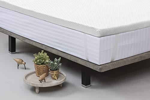 VELFONT - VELFONT Topper de espuma viscoelástica para cama de matrimonio Maxi H5 cm Viscoplus con gomas de anclaje - Blanco, Mater.MAX180X190-200