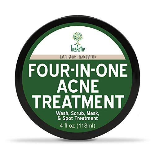 Treeactiv Quatre-en-un traitement de l'acné de lavage, gommage, masque, et traitement localisé guérit Rosacée Exfoliant Sucre visage ou le corps Soufre naturel peau claire Nettoyant Bentonite (4 Oz)