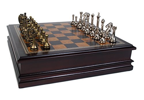 Classic Game Collection Metal Chess Set with Deluxe Wood Board and Storage - 2.5' King,...