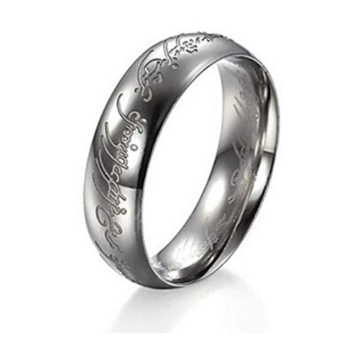 WAY2BB - 6MM Bague Tungstene Seigneur des Anneaux Lord of The Rings (argent, 60)