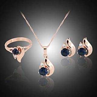 Jewelry Blue Rhinestone Necklace Earrings Ring Set