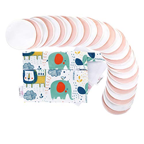 Bamboo Breastfeeding Nursing Pads - Reusable Nursing Pads with Storage & Laundry Bags, Organic Leak-Proof Breast Pads for Maternity (28 Pack + Wet Bag, White & Pink)