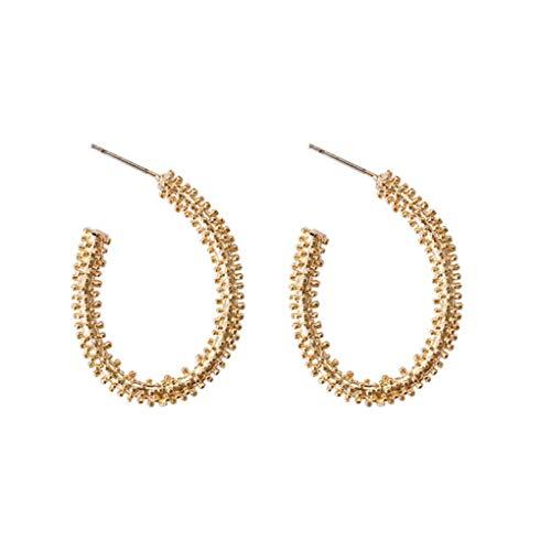 MXHJD Pendientes de aro ovalados de Color dorado con diseño único coreano de moda, pendientes de círculo abierto con encanto simple para mujer, joyería de moda