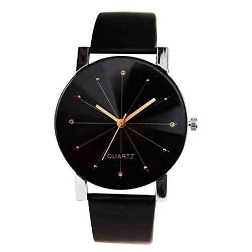 WDQTDY Paar Mode Horloge mannen en vrouwen Lederen Strap lijn Analoog Quartz Dames Horloge Hot Sale Riem Paar Horloge Luxe Nieuwe 30* als De Foto Toont