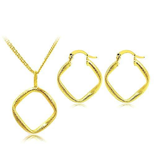 pyongjie Collar Joyería De Moda para Mujer, Pendientes De Aro, Collar con Colgante, Conjuntos De Joyas Cuadradas De Dubai para Fiesta, Boda, Collar, Longitud 45Cm