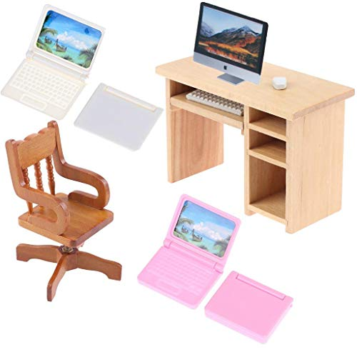 IYSHOUGONG 7 Pack/Set Dollhouse Miniature with Computer Simulation Notebook Laptop Furniture Desk Rotated Chair for Dollshouse Accessories for Doll 1/6 1/12 Miniatures Play Set
