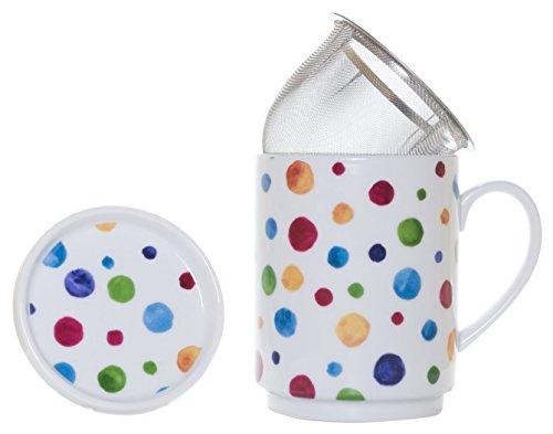 La Cija Dots - Tazza in Porcellana con Filtro in Acciaio Inox, Colore Bianco