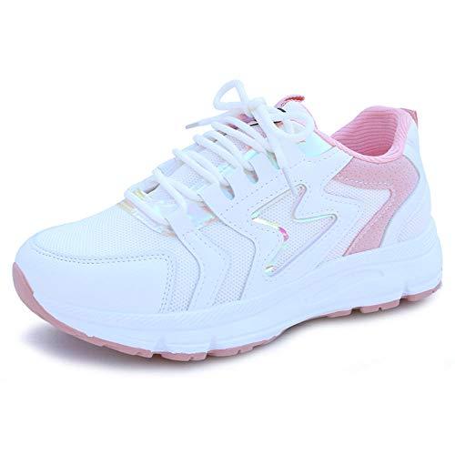 LXQLFY Zapatos Blancos Transpirables de Fondo Plano, nuevos Zapatos Deportivos y de Ocio para Mujer, Zapatillas versátiles, Ligeras y extranjeras-40_