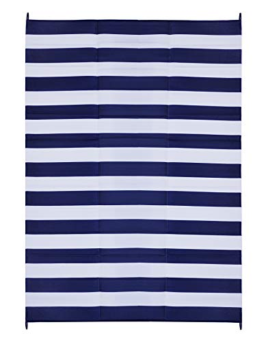 FH Home Indoor/Outdoor Recycled Plastic Floor Mat/Rug – RV Camping Rugs, Great for Beach, Camping Trips, Picnics – Lightweight - Brittany Stripe - Blue & White (9 ft x 12 ft) - Foldable