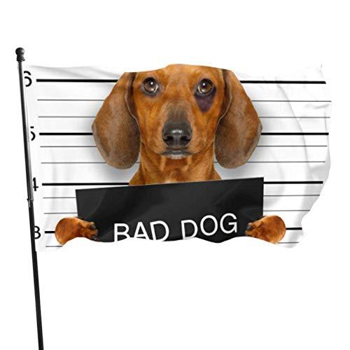 WDDHOME Dackel-Wurst-Hund, der eine Polizeidienststelle-Haus-Yard-Flaggen-dekorative Flagge 3x5 Fuß vibrierende Farbqualitäts-Polyester und Messingösen hält