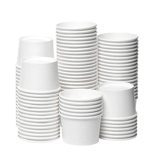 [8 oz, 100-Count, White] Papernain Paper Disposable Ice Cream Cups, Dessert Bowls Nevada
