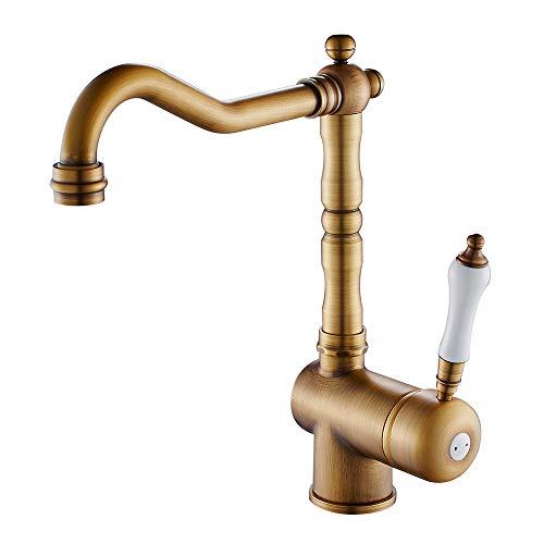 Miscelatore Rubinetto Monocomando per Lavabo rubinetto da cucina in ottone anticato Stile classico (Ottone)