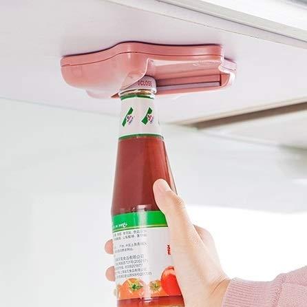 MYHH Abrelatas de botella sin esfuerzo debajo del armario de cocina removedor de tapa de encimera (rosa) (Color: Rosa)