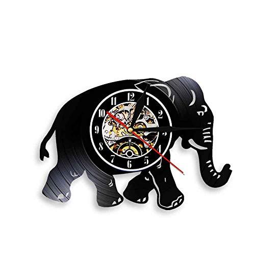Tbqevc Iluminación para Caminar lámpara de Pared Disco de Vinilo Retro Reloj de Pared Tiempo Amante de los Animales Reloj de Pared Familia 12 Pulgadas