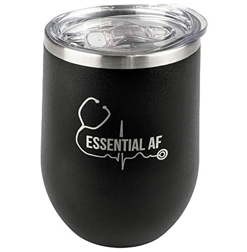 Product Image 9: KCT Store Nurse Gifts – Doctor Gifts & Medical Gifts – Essential AF – Stainless Steel Double Walled Wine & Coffee Tumbler – BPA Free Closing Lid and Metal Straw Included – 12 oz (Matte Black)