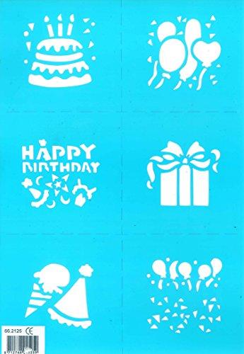 Motivschablone 6 teilig Geburtstag mit Torte Geschenk Happy Birthday Ballons Eis Luftballons Motive je ca 6cm x 6cm