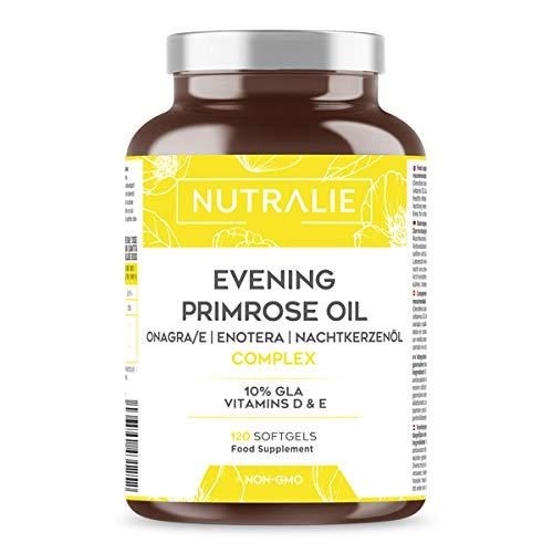 Aceite de Onagra 1000mg con Vitaminas D y E | 120 Perlas Aceite Onagra | 10% GLA Ácido Gamma-linolénico para Mujeres | Contribuye al mantenimiento de los Huesos y Músculos | Sin GMO | Nutralie