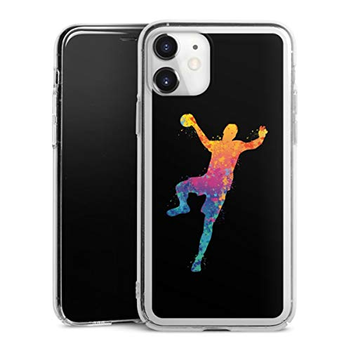 DeinDesign Hard Case kompatibel mit Apple iPhone 11 Schutzhülle transparent Smartphone Backcover Handball Farbklecks Ball