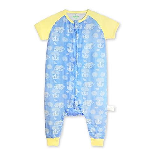 GDSSX Saco de sueño de bebé Premium, Bolsa de Dormir para niños con pies, Manta de Gasa de algodón de bambú usable Pijamas de Bebe (Color : Blue, Size : XX-Large)
