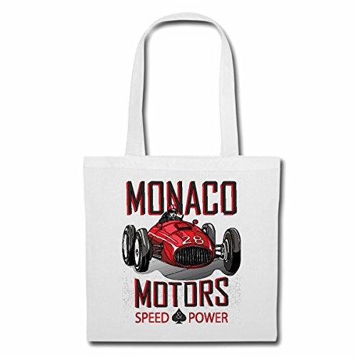 Tasche Umhängetasche Monaco Motors Speed Power Motorsport Formel Sport AUTOMOBILSPORT Rennwagen Oldtimer Formel 3 Einkaufstasche Schulbeutel Turnbeutel in Weiß