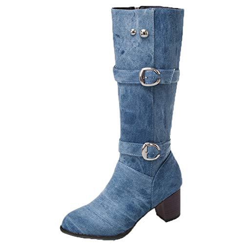 Botas de Mezclilla para Mujer Plataforma de Invierno Punta Redonda tacón Cuadrado Cremallera Zapatos Largos de Tubo Botas hasta la Rodilla cálidas Impermeables para Mujer (Ropa)