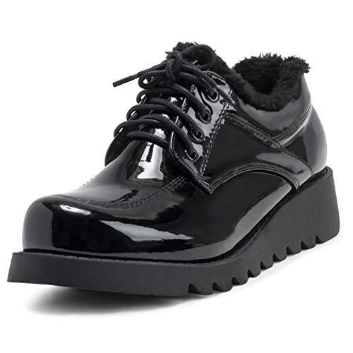 VIVASHOhe rubberen zool voor dames, volledig kunstbont, gevoerd, leer, waterdicht, op kantoor, werk, winterkoorden, schoenen, laarzen