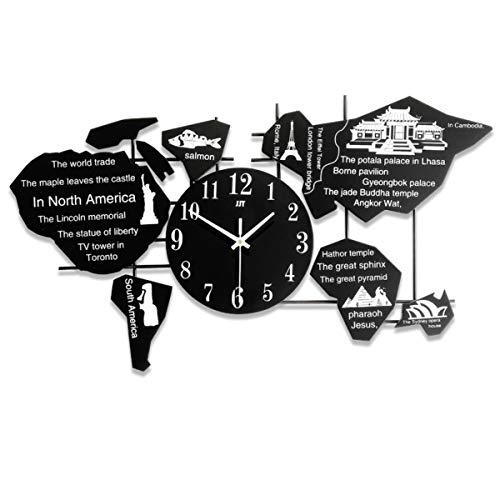 JJT Orologio al Quarzo da Parete, Mappa del Mondo, Ideale per Ufficio, Casa, Locali