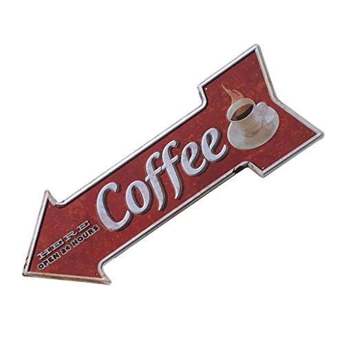 Sharplace Retro Pfeilschild Pfeil Schild Blechschild Hinweisschild Türschild, Kaffee Café Deko - Coffee, 450 * 160mm