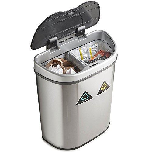 VonHaus 70L Abfalleimer mit Sensor – Automatisches Öffnen/Schließen – Abfallbehälter aus Edelstahl für Küche und Innenbereich