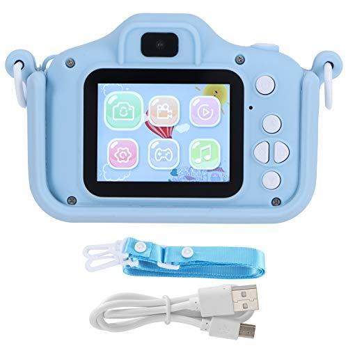 Cámara digital para niños de 20 MP con cuerda para colgar Carga USB Portátil Linda cámara de doble disparo Temporización Pantalla a color IPS para niños, niñas, tomar fotos, videos, juegos, azul