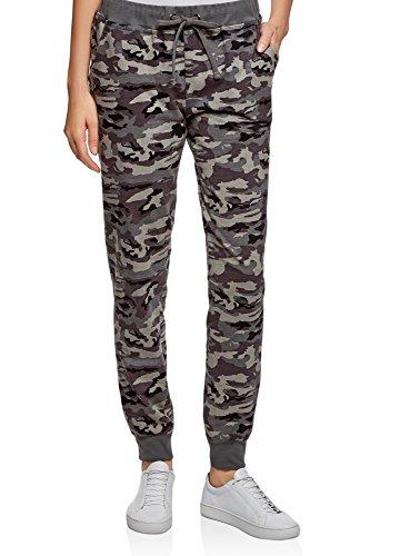 oodji Ultra Mujer Pantalones de Punto con Cordones, Gris, ES 34 / XXS