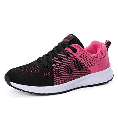Zapatillas de Running para Mujer Zapatos para Correr Gimnasio Deporte Sneakers Atletismo Zapatos (Rose Red,38)