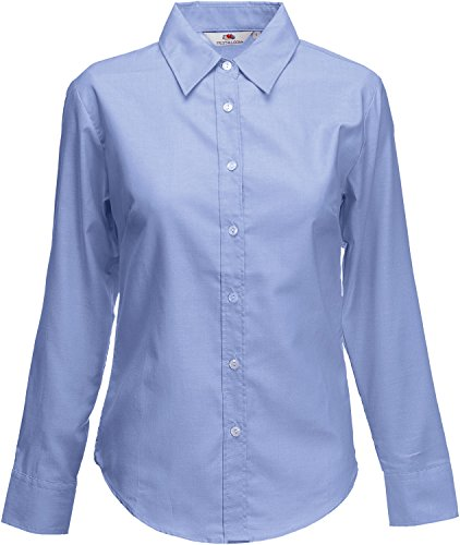 Fruit of the Loom Oxford Shirt LS Lady-fit Blusa para Mujer