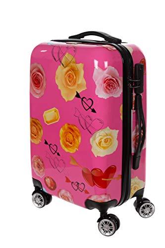Birendy Reisekoffer Polycarbonat Hartschalen Hardcase Trolley mit Zahlenschloss Koffer Kofferset 4 Rollen einfacher Transport (75-Pink Rose, L - Handgepäck 55x35cm)