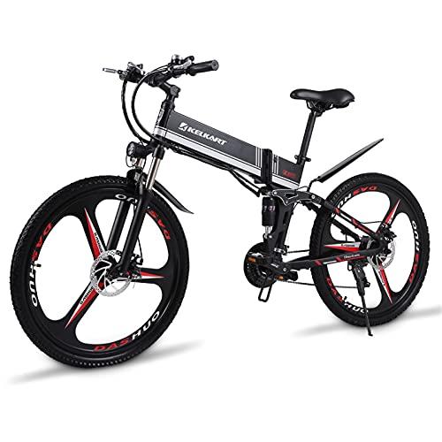 KELKART Bicicleta Eléctrica de Montaña 26' 350W Bicicleta Eléctrica Plegable Sin Escobillas con Batería de Iones de Litio Extraíble de 48V 10.4AH, con Suspensión Trasera y Bomba