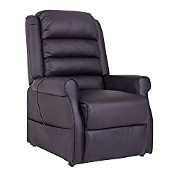 HOMCOM massage armchair Electric relax armchair TV armchair with warming function Lying function PU brown 88 x 83 x 110 cm