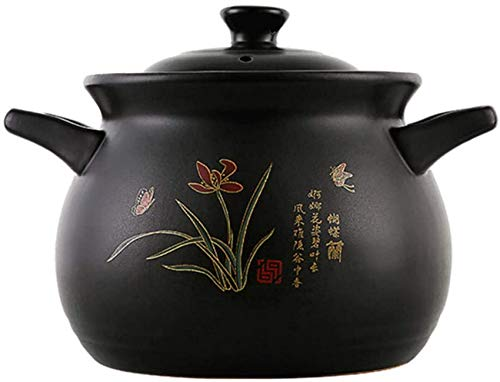 UWY Marmite en céramique Pots en céramique pour la Cuisson - Casserole Ragoût Pot Ménage Gaz Soupe Crock Pot Santé Pierre Pot-5L