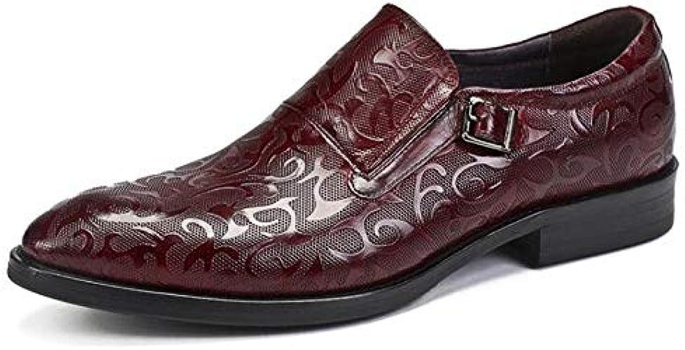 LOVDRAM Chaussures en Cuir pour Hommes Nouveau Luxe Noir Robe Chaussures Hommes Bout Pointu Boucle Modèle Sculpté Business Formelle Chaussures Hommes Patron Hommes Chaussures De Mariage