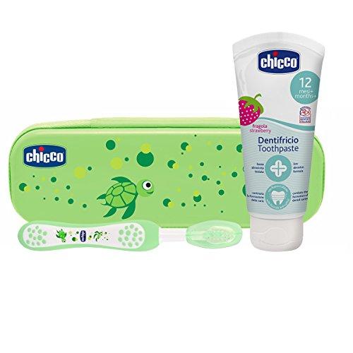 Chicco - Set dental Cepillo de dientes + Pasta Fresa con flúor 12+ m + Neceser Semi rígido color Verde