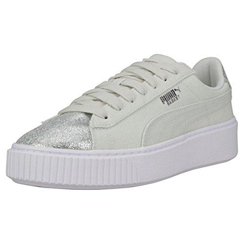 Puma Basket Platform Canvas Wn's Sneakers Verde Acqua Bianca 366494-03 - 36, Verde