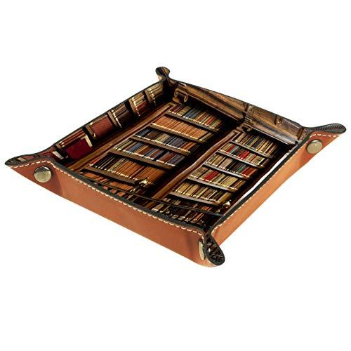 Bandeja de Cuero - Organizador - Patrón de estantería de biblioteca vintage - Práctica Caja de Almacenamiento para Carteras,Relojes,llaves,Monedas,Teléfonos Celulares y Equipos de Oficina