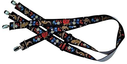 Schwarze Hosenträger | Wanderer-Motiv | Rucksack, Edelweiß, Steinbock, Adler, Blumen | Damen und Herren | One Size 120 cm | Anzug-Hosenträger | Arbeitskleidung-Hosenträger | Teichmann
