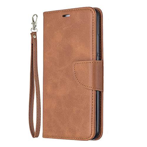 Lomogo Huawei Y7 / Y7 Prime Hülle Leder, Schutzhülle Brieftasche mit Kartenfach Klappbar Magnetverschluss Stoßfest Kratzfest Handyhülle Case für Huawei Y7 / Y7 Prime - LOBFE150414 Braun