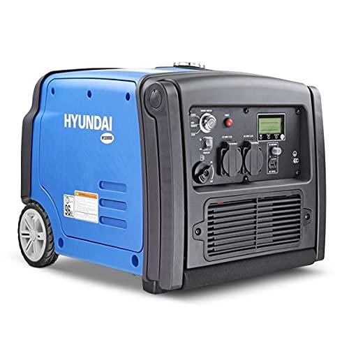 Hyundai 3.2kW, 4kVA Portable Petrol Generator, Electric Start Inverter Generator, 4 Stroke 210cc Engine, Wireless Remote & Key Recoil Start, Camping Generator, 3 Year Warranty, Includes Accessories