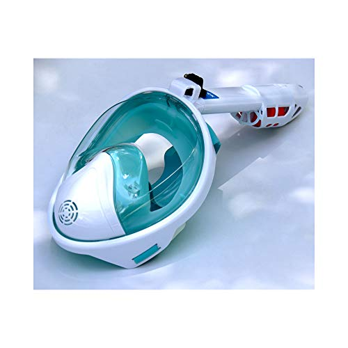 FLAUU El Equipamiento de Snorkel extraíble, 180 ° panorámica de la Cara Llena máscara del Salto, Anti-Niebla, Anti-Fugas, Adecuado para Adultos y Adolescentes,Verde,L