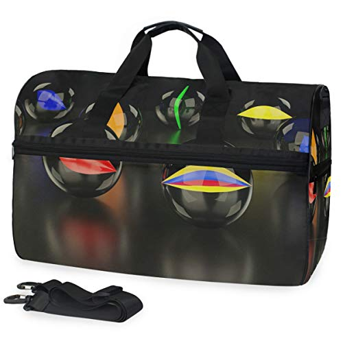 Marmorkugeln Glas Large Travel Duffel Tote Bag Weekend Overnight Travel Bag Gym Bag Fitness Sports Bag with Shoes Compartment