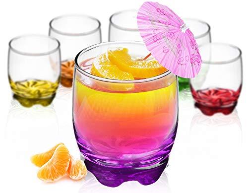 Trinkgläser aus Glas 250ml Set 6 Teilig bunter Boden Wassergläser Saftgläser Whiskeyglas Drinkglas klein